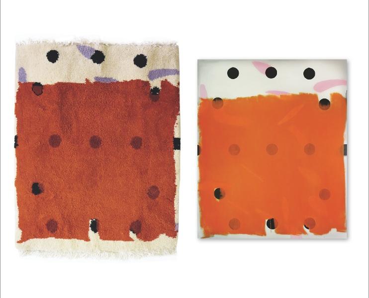 Orange Uebermalung Tapis&Bild 160x140 120x100 Teppich Design Claudia Franzen
