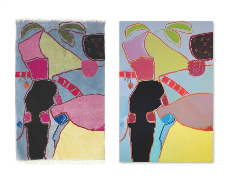 Stillleben mit Früchten Tapis&Bild 150x100 16000 Knoten/qm / 150x100 Teppich Design Claudia Franzen